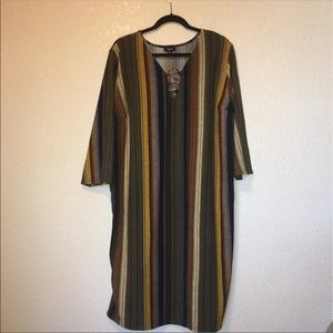 Boho lagenlook mod srtiped modest stretchy Dress